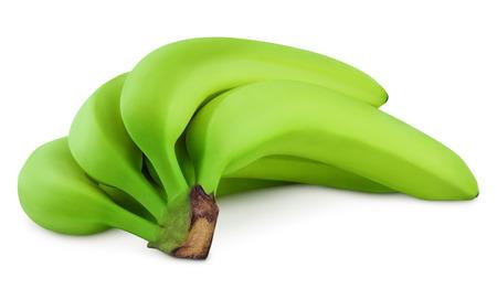 bundle: bundle of green bananas isolated on white Stock Photo