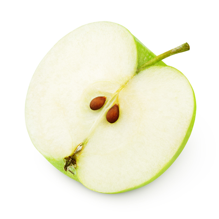 Half of ripe green apple isolated on white