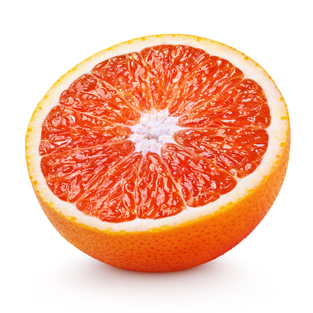 血の赤オレンジ色の柑橘系の果物の白い背景で隔離の半分