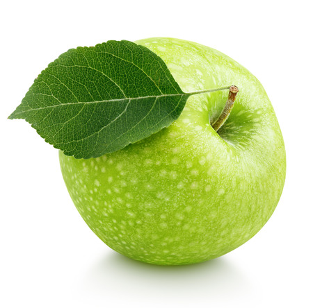 Single ripe green apple with leaf isolated on white