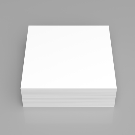 paper stack: Stack of stick note (white paper) on gray background Stock Photo