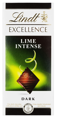 lindt: MOSCOW, RUSSIA - FEBRUARY 1, 2017: Top view of Lindt EXCELLENCE Lime intense Swiss dark chocolate bar isolated on white . Lindt chocolate bar made by Lindt & Sprengli AG