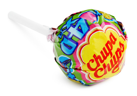 MOSCOW, RUSSIA - FEBRUARY 5, 2017: Chupa Chups XXL 4D lollipop candy isolated on white background. Editorial