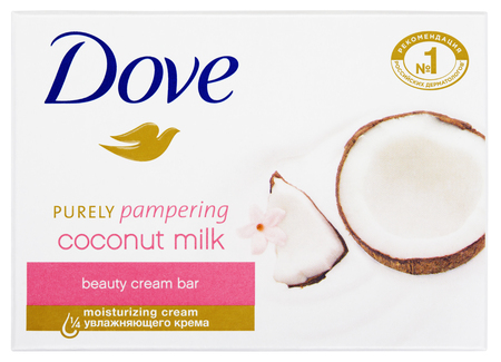 purely: MOSCOW, RUSSIA - FEBRUARY 5, 2017: Top view of Dove Purely pampering coconut milk - beauty cream bar soap isolated on white background. Dove is a brand owned by Unilever