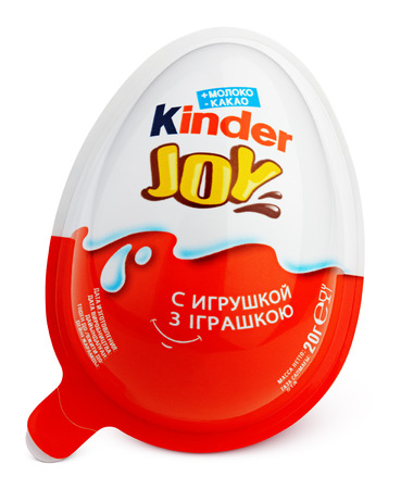 ferrero: MOSCOW, RUSSIA - FEBRUARY 5, 2017: Front view of Kinder Joy (Kinder Merendero) isolated on white. Plastic egg-shaped packaging. Kinder Joy made by confectionery company Ferrero Editorial