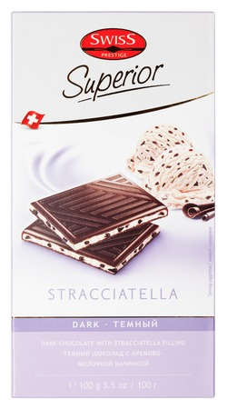 prestige: MOSCOW, RUSSIA - FEBRUARY 4, 2017: Top view of Swiss Prestige Superior Stracciatella dark chocolate bar isolated on white . Swiss Prestige Superior chocolate made by Chocolat Frey AG