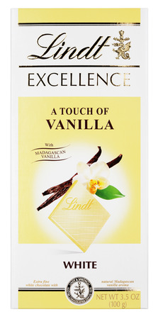 lindt: MOSCOW, RUSSIA - FEBRUARY 1, 2017: Top view of Lindt EXCELLENCE (a touch of vanilla) Swiss white chocolate bar isolated on white with clipping path. Lindt chocolate bar made by Lindt & Sprüngli AG