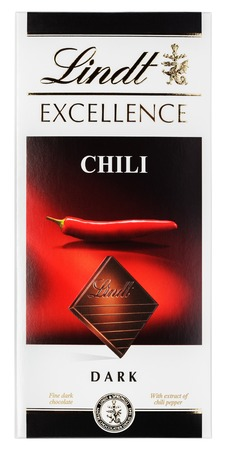 lindt: MOSCOW, RUSSIA - FEBRUARY 1, 2017: Top view of Lindt EXCELLENCE Chili Swiss dark chocolate bar isolated on white with clipping path. Lindt chocolate bar made by Lindt & Sprüngli AG