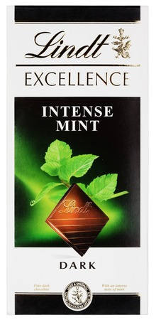 lindt: MOSCOW, RUSSIA - FEBRUARY 1, 2017: Top view of Lindt EXCELLENCE intense mint Swiss dark chocolate bar isolated on white with clipping path. Lindt chocolate bar made by Lindt & Sprüngli AG