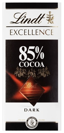 lindt: MOSCOW, RUSSIA - FEBRUARY 1, 2017: Top view of Lindt EXCELLENCE 85% Cocoa Swiss dark chocolate bar isolated on white with clipping path. Lindt chocolate bar made by Lindt
