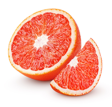 Half and slice of blood red orange citrus fruit isolated on white background with clipping path