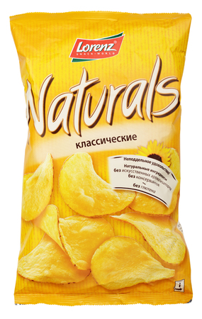 MOSCOW, RUSSIA - MARCH 26, 2017: Top view of Lorenz Naturals Classic potato chips bag isolated on white background with clipping path. Naturals produced by Lorenz Snack-World German food company