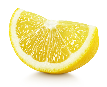 Ripe slice of yellow lemon citrus fruit isolated on white background with clipping path Archivio Fotografico