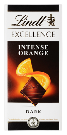 MOSCOW, RUSSIA - APRIL 9, 2017: Top view of Lindt EXCELLENCE intense orange Swiss dark chocolate bar isolated on white with clipping path. Lindt chocolate bar made by Lindt & Sprüngli AG Editorial