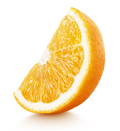 Standing ripe slice of orange citrus fruit isolated on white background with clipping path