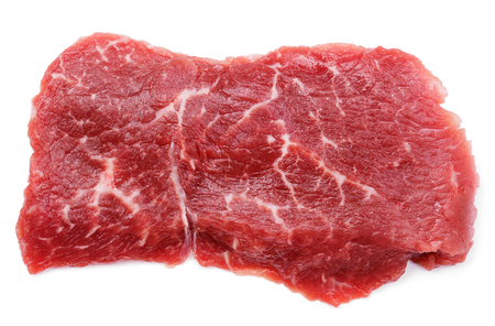 Top view of fresh raw beef steak isolated on white background