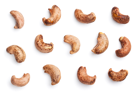 Set of cashew nuts with shell isolated on white background with clipping path