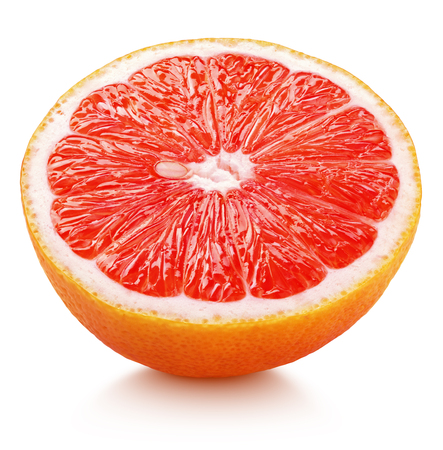 Ripe half of pink grapefruit citrus fruit isolated on white background. Pink grapefruit half with clipping path Imagens