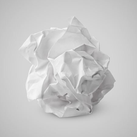 one sheet: Sheet of crumpled white paper ball on gray background. Screwed up paper ball with clipping path