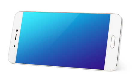 Modern white smartphone with blue touch screen standing on the side. Smart phone in horizontal isolated on white background with clipping path Stock Photo