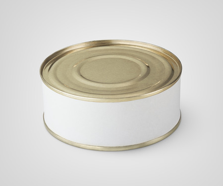 conservative: Small tin can with blank label on gray background