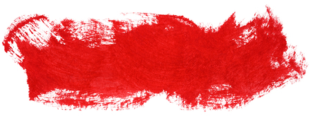 Red stroke of gouache paint brush isolated on white Stock Photo