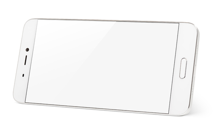 Modern white smartphone with white touch screen standing on the side. Smart phone in horizontal isolated on white background with clipping path Stock Photo