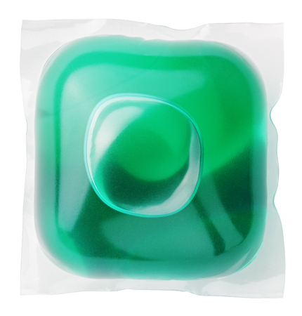 dissolve: Washing gel capsule pod with laundry detergent isolated on white background with clipping path