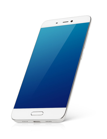 Modern white smartphone with blue emty screen stands isolated on white background. Smart phone with clipping path Archivio Fotografico