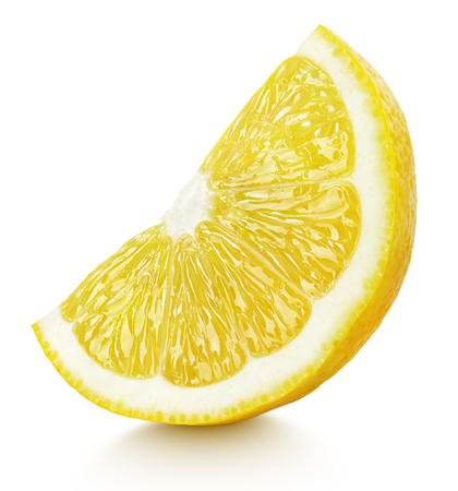 Ripe wedge of yellow lemon citrus fruit stand isolated on white background with clipping path Imagens