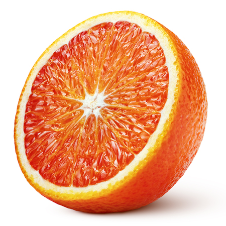 Ripe half of blood red orange citrus fruit isolated on white background with clipping path. Full depth of field. Stock Photo