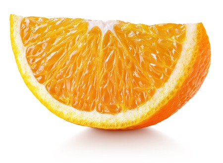 Sweet slice of orange citrus fruit isolated on white background with clipping path. Full depth of field.