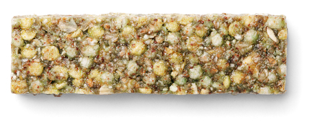 Top view of healthy green granola bar (muesli or cereal bar) isolated on white background Stok Fotoğraf