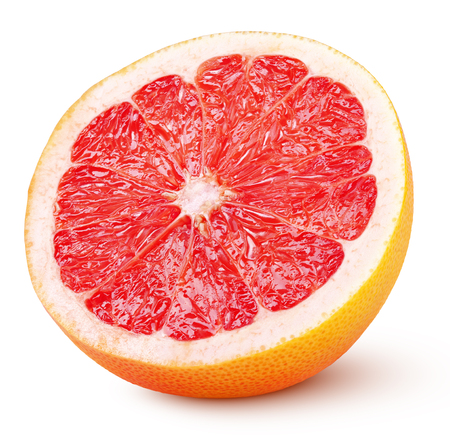 Half grapefruit citrus fruit isolated on white background with clipping path. Full depth of field.