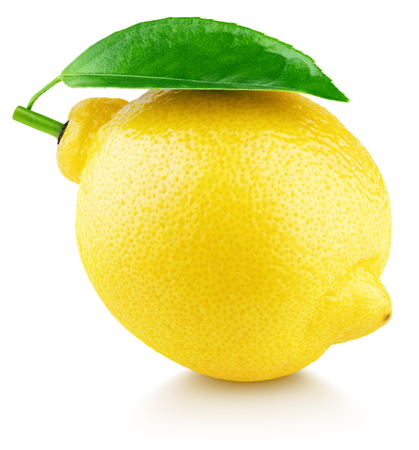 Ripe full yellow lemon citrus fruit with green leaf isolated on white background with clipping path. Full depth of field.