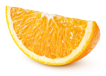 Single slice of orange citrus fruit isolated on white background with clipping path. Full depth of field. Stock Photo