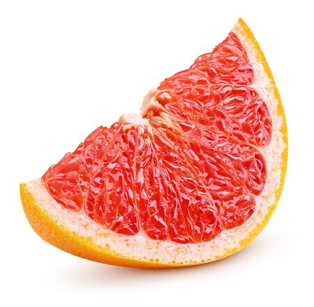 Ripe slice of grapefruit citrus fruit isolated on white background with clipping path. Full depth of field.