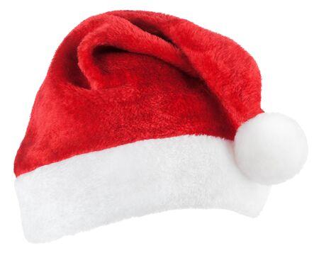 Święty Mikołaj lub świąteczny czerwony kapelusz na białym tle Zdjęcie Seryjne
