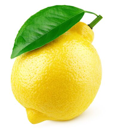 Ripe full yellow lemon citrus fruit with green leaf isolated on white background with clipping path. Full depth of field. Archivio Fotografico