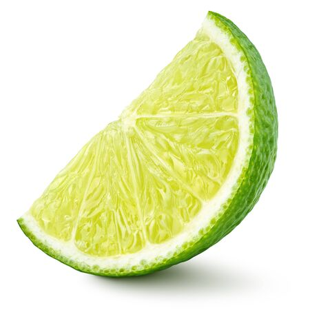 Standing ripe slice of lime citrus fruit isolated on white background