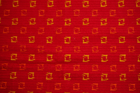 cross hatched: Red fabric background, China. Stock Photo