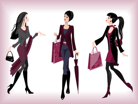 Fashionable women going from shop Stock Vector - 8464136