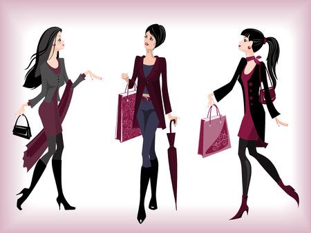 autumn fashion: Fashionable women going from shop Illustration