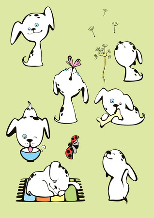 lie down: Collection of funny white spotted dogs puppies Illustration