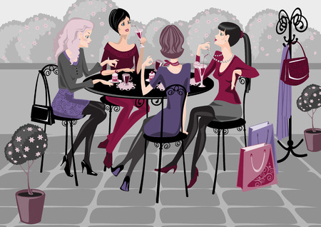 cute girlfriends: girls spend their time in a street cafe