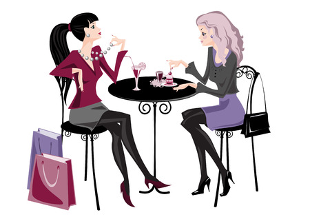 sitting at table: Two girls in cafe, stylization