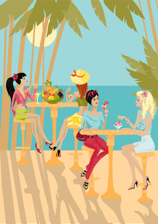 a charming: girls eat on the background of a tropical landscape