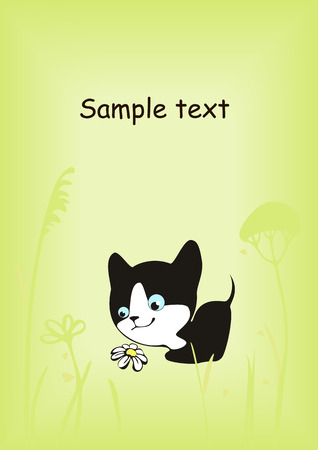 smells: Little kitten which smells a flower. Illustration