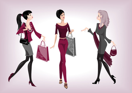 Three fashionable women going from shop Vector