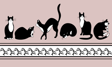 border with black cats and fish Vector